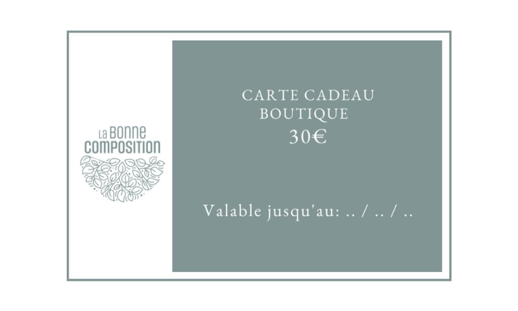 Carte cadeau boutique cosmétique naturel Paris